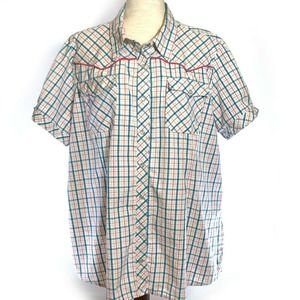 Bit & Bridle Western Pearl Snap Shirt Blouse Plaid